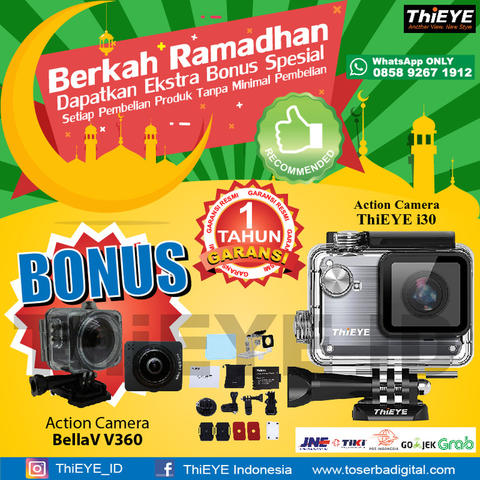Diskon Ramadhan Action Camera Thieye I30 Grey Bonus Kamera V360 Panorama