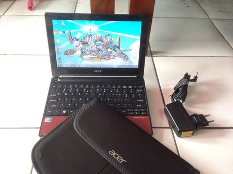 Netbook Merah Imut Acer Aspire One D260 Ram 1gb Hdd 160gb Mulus Normal
