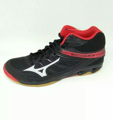 SEPATU VOLLEY MIZUNO THUNDERBLADE MID BLACK RED V1GA187586 ORIGINAL MURAH