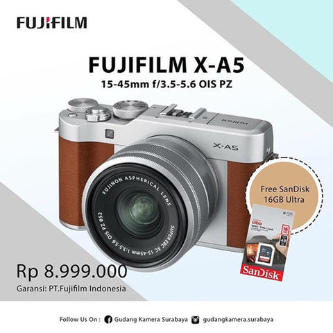 New !!! FUJIFILM X-A5 Kit 15-45mm f/3.5-5.6 OIS PZ (Brown)