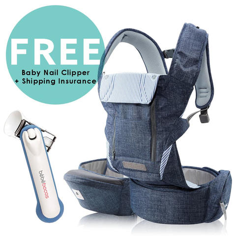 Pognae No. 5 Plus Hipseat and Baby Carrier Denim Blue Gendongan Bayi