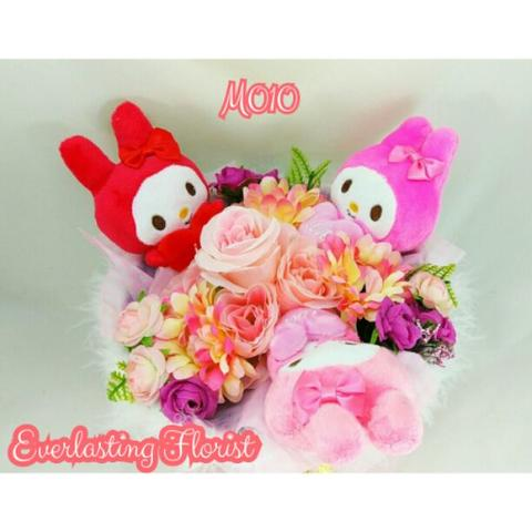 Bucket My Melody (M010) Buket Bunga Boneka Bouquet Wedding Wisuda Engaged Proposed