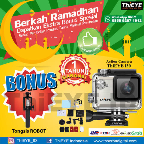 Action Camera ThiEye I30 12MP & Wifi Full Accesories FREE TONGSIS