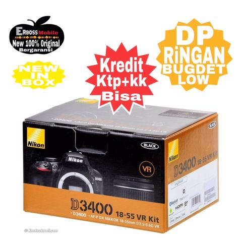 Cicilan Ringan Nikon D3400 kit AF-P DX 18-55mm VR ditoko Dp 800rb Wa;081905288895