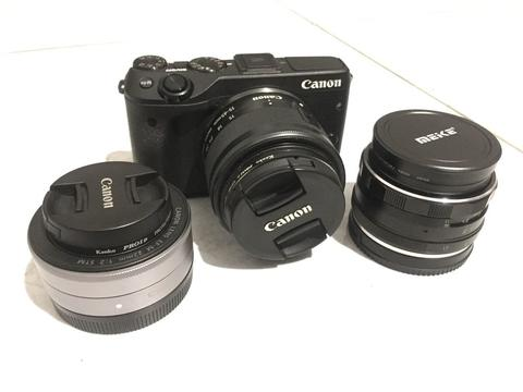 CANON EOS M3 + Lensa Kit 15-45mm + Lensa Fix 22mm F2.0 + Lensa Meike 35mm F1.8