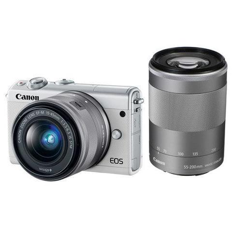 Canon EOS M100 Mirrorless Digital Camera with 15-45mm+22mm (Black&White&Grey)