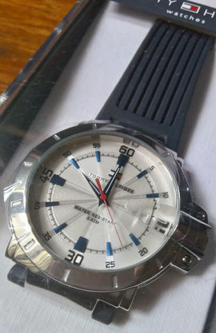 Tommy Hilfiger Stainless Steel Watch With Black Silicone Band
