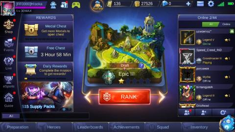 Akun Mobile Legends (Hero : 23, Skin : 15)