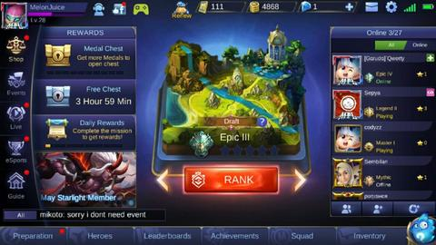 Akun Mobile Legends (Hero : 18, Skin : 7)