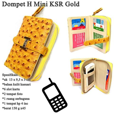Dompet Kulit Hp H KSR Mini GOLD