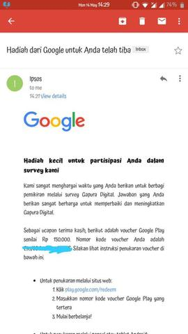 Google Play Code isi 150rb