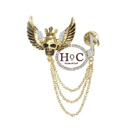 Houseofcuff Lapel Pin Bros Jas Wedding Best Man SKULL GOLD WING LAPEL PIN