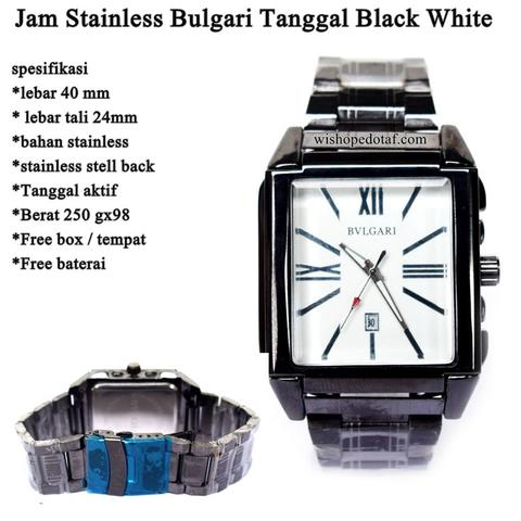 jam tangan Bulgari Stainless Tanggal Super BLACK WHITE