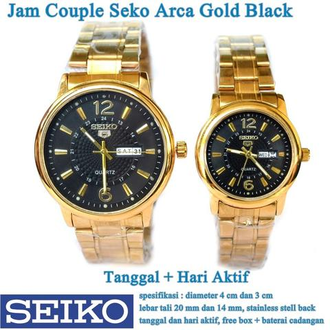 jam tangan Seko Arca Stainless Tanggal Hari Couple gold black