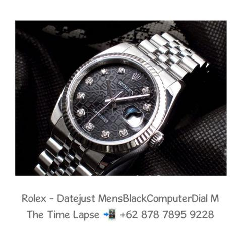 Rolex - Datejust Mens 36m, Diamonds Index, Black Computer Dial Stainless Steel 'M'