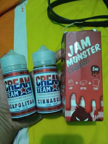 Liquid us vape murah aja 100 ml jam monster cream team