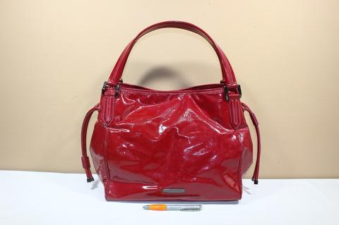 Tas branded BURBERRY LONDON BUR264 Red patent leather second original asli