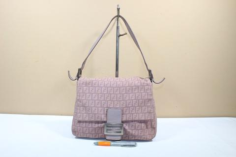 Tas branded FENDI F65 Purple FF Signature second original mama bag