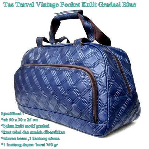 Tas Travel Vintage Pocket Kulit GRADASI BIRU