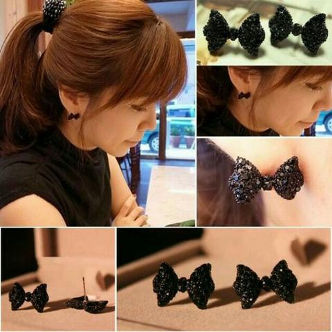 Anting Fashion Wanita Murah Model Pita Bunga Stud Earings Bow Alloy Import
