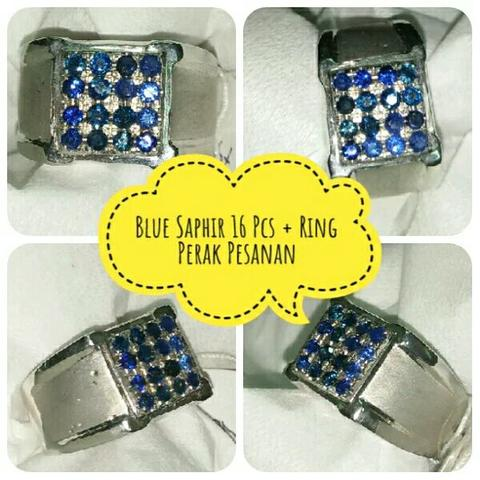 batu blue saphir safir 16 pcs ring perak custom