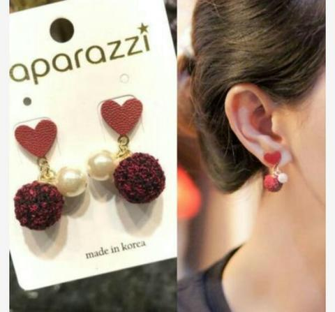 Anting Korea Love PomPom Pearl Leather