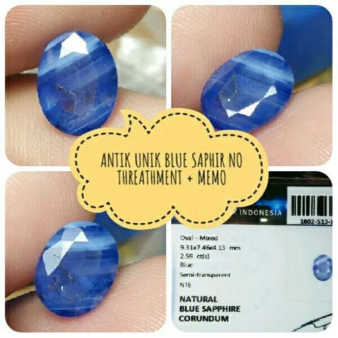 batu blue saphir safir 2ct no threathment plus memo