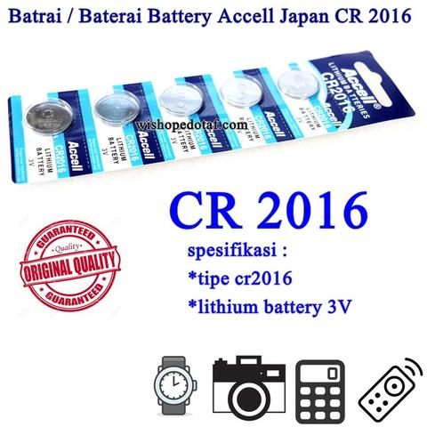 Batrai / Baterai Battery Accell Japan CR 2016