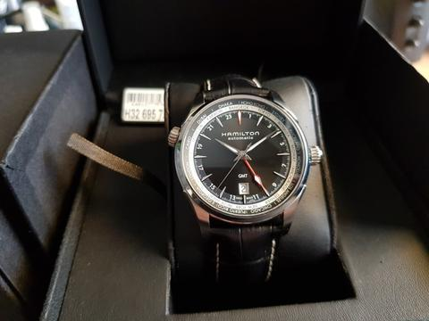 [For Sale] Hamilton Jazzmaster GMT Automatic Black Dial Black – H32695731