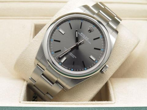 [For Sale] Rolex Oyster Perpetual Dark Rhodium Dial Bracelet 39 mm – 114300