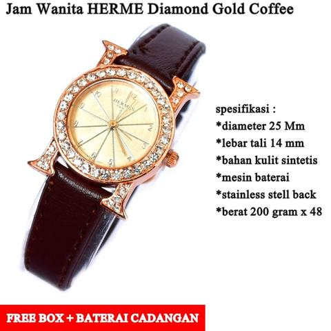 jam tangan wanita H Diamond gold coffee