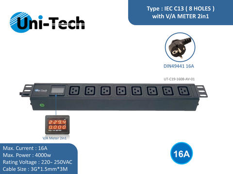 PDU 8 Holes C19 Style with AV 2in1, Input Schuko (16A)