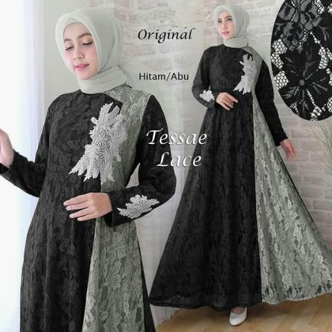 121371 Baju GAMIS BRUKAT TESSAE LACE HITAM-ABU by PGMS Collections