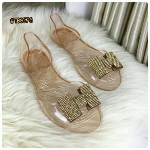 NEW DESIGN Sepatu Fashion Wanita Murah Flat Jelly Shoes Good Quality #TX676