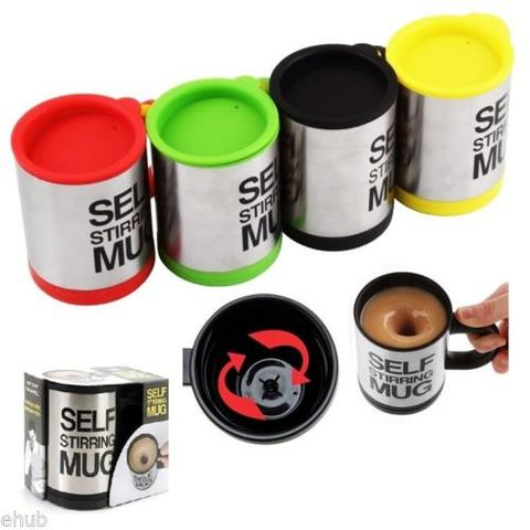 Automatic Self Stirring Coffee Cup / Gelas Otomatis - Silver