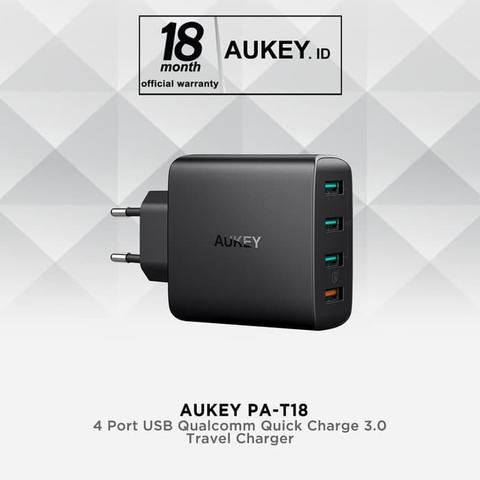 Fast Adaptor Charger AUKEY PA-T18 Total 4 USB Port (3 Port Ai Power + 1 Qualcomm 3.0)