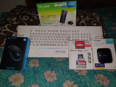 Keyboard 1stplayer Fire Dancing, Mouse Logitech G102, Tplink UH400, TPlink T4U