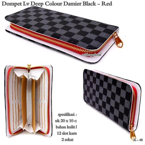 Dompet wanita Lv Deep Colour Damier Black - Red