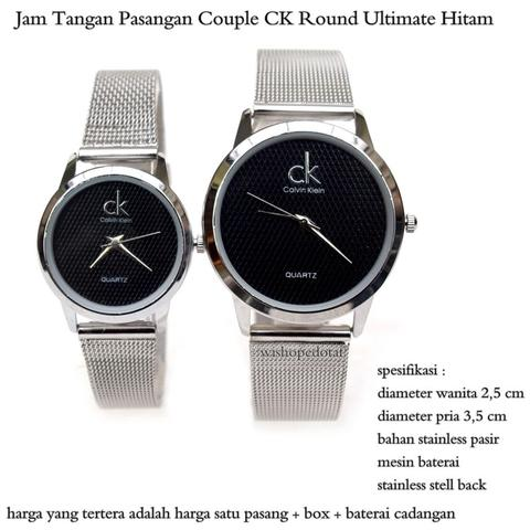 jam tangan pasangan couple CK Round Ultimate Hitam