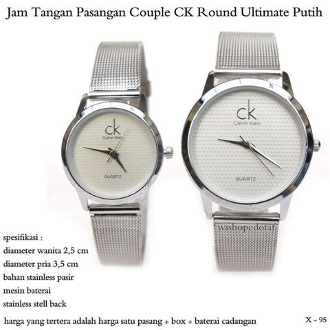 jam tangan pasangan couple CK Round Ultimate Putih
