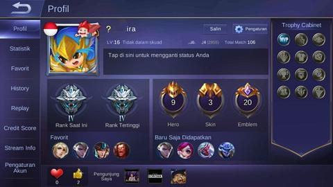 Jual Char ML / Akun ML Mobile Legend Rank GrandMaster GM [006]