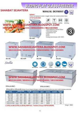 JUAL SLIDING FLAT GLASS FREEZER