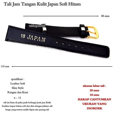 Strap Watch kulit japan soft Hitam