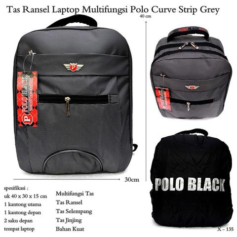 Tas Ransel laptop multifungsi polo curve strip grey