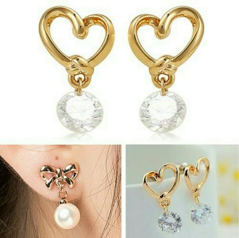 JUAL MURAH Anting Fashion Wanita Perhiasan Model Pin Pita Hias Zicron Good Quality
