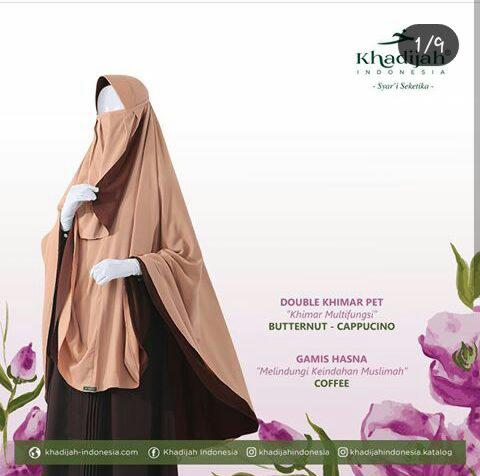Double khimar pet butternut capuchino mix gamis hasna coffee by khadijah