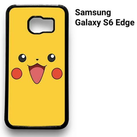 Pokemon Pikachu Face Samsung Galaxy S6 Edge 2D (Black) Custom Hard Case