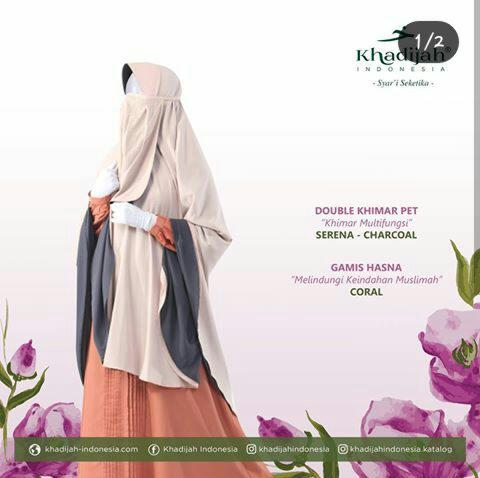 Gamis Hasna coral mix double khimar pet serena charcoal by khadijah