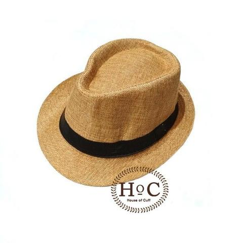 Houseofcuff Topi Fedora Hat BROWN LIGHT LISTED FEDORA HAT
