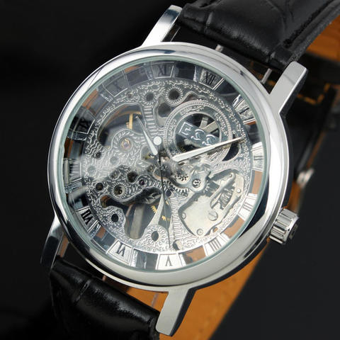 Jam Tangan ESS Luxury Men Leather Skeleton Hand-Wind Up Automatic